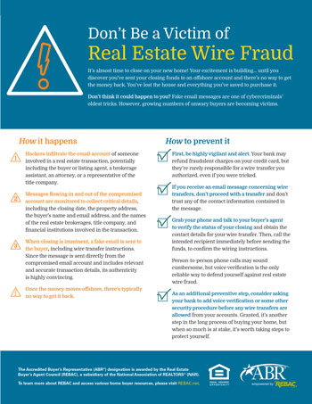Don't Be A Victim of Real Estate Wire Fraud Infographic