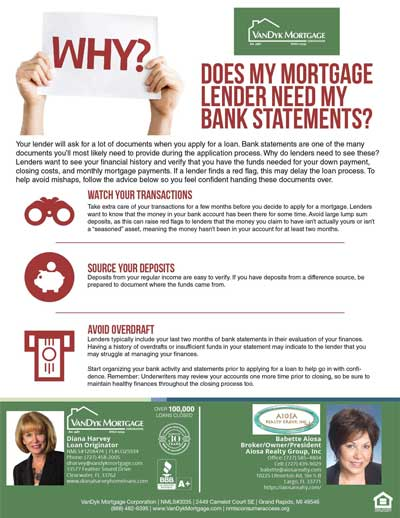 Why Mortgage Lenders need bank statements